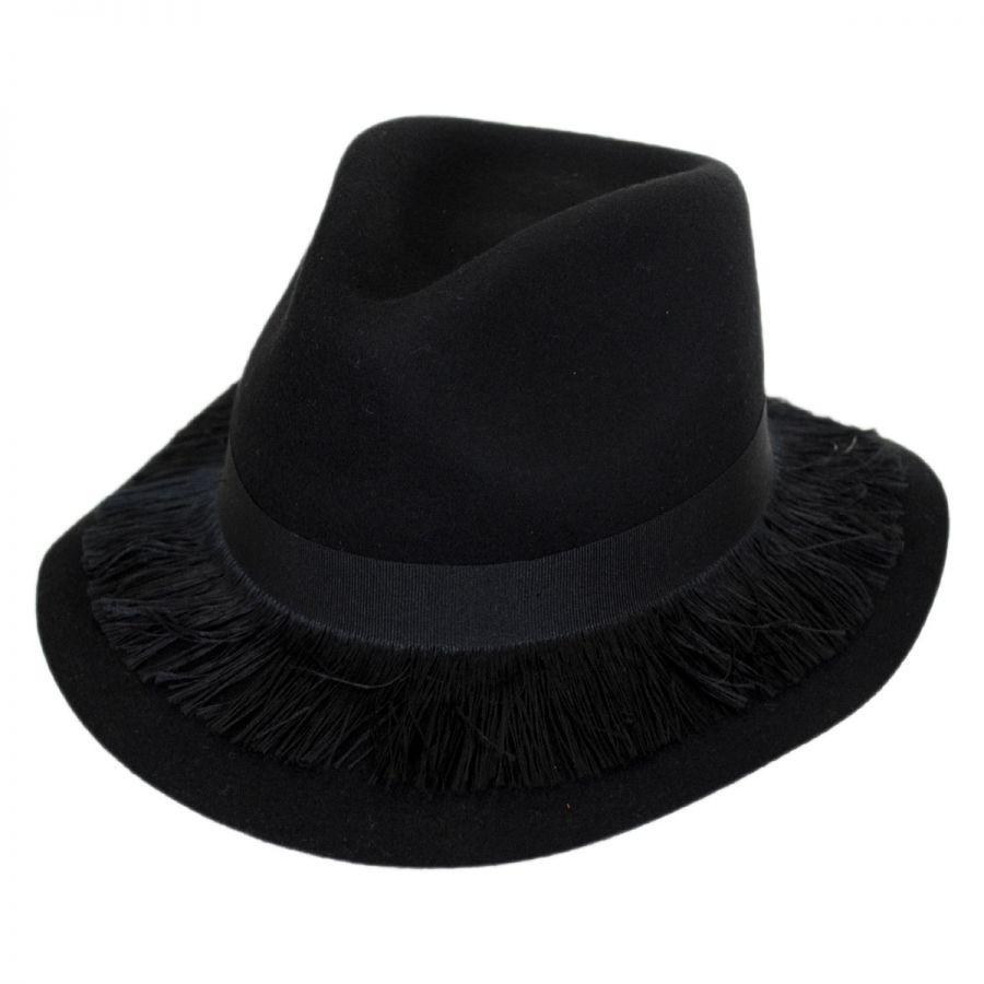 Brixton Hats Stockholm Fringe Wool Felt Floppy Fedora Hat Fedoras 379e9e981fe