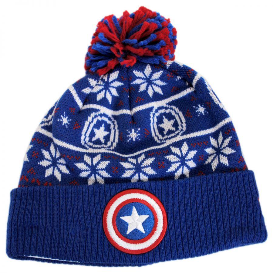 14981e2bccf New Era Marvel Comics Cap America Winter Knit Beanie Hat Animation ...