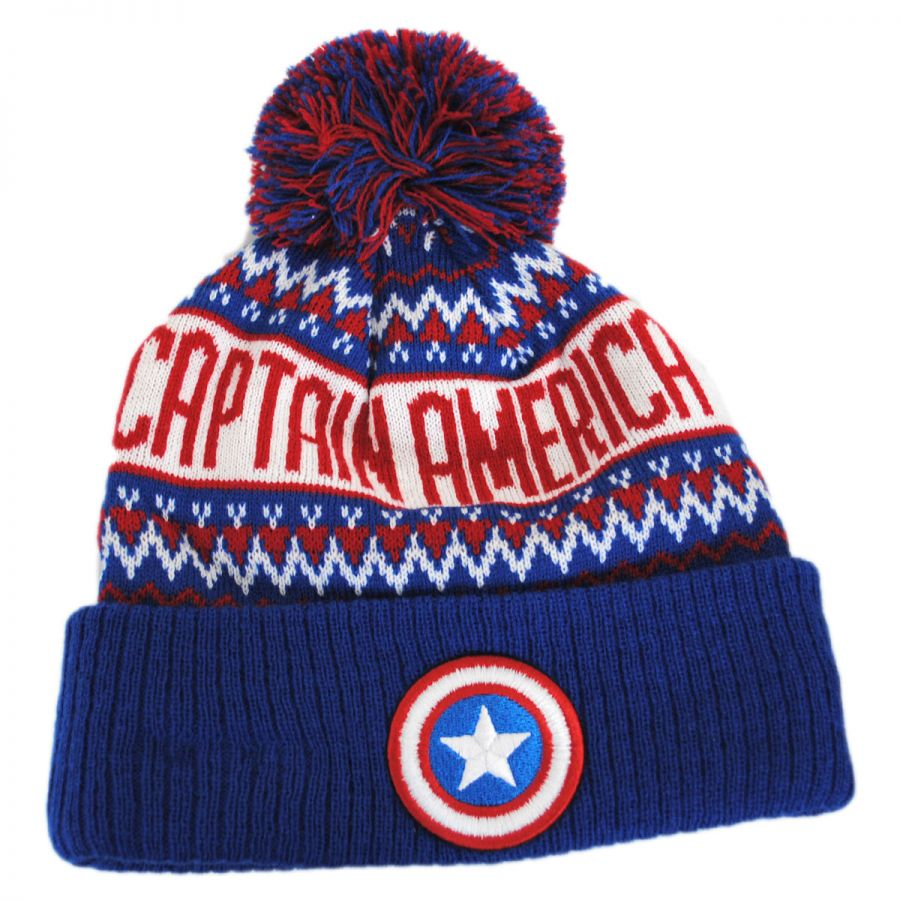 7423e34eb5e New Era Marvel Comics Cap America Sweater Knit Beanie Hat Animation ...