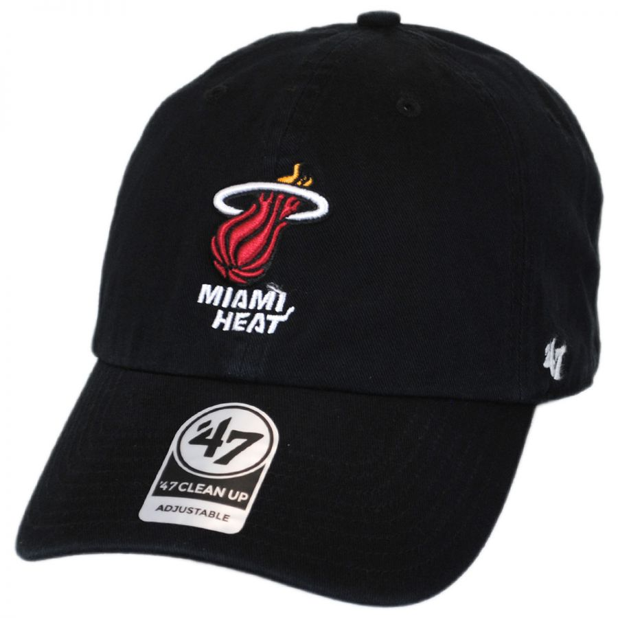 best value 3739c bf6c8 47 Brand Miami Heat NBA Clean Up Strapback Baseball Cap Dad Hat