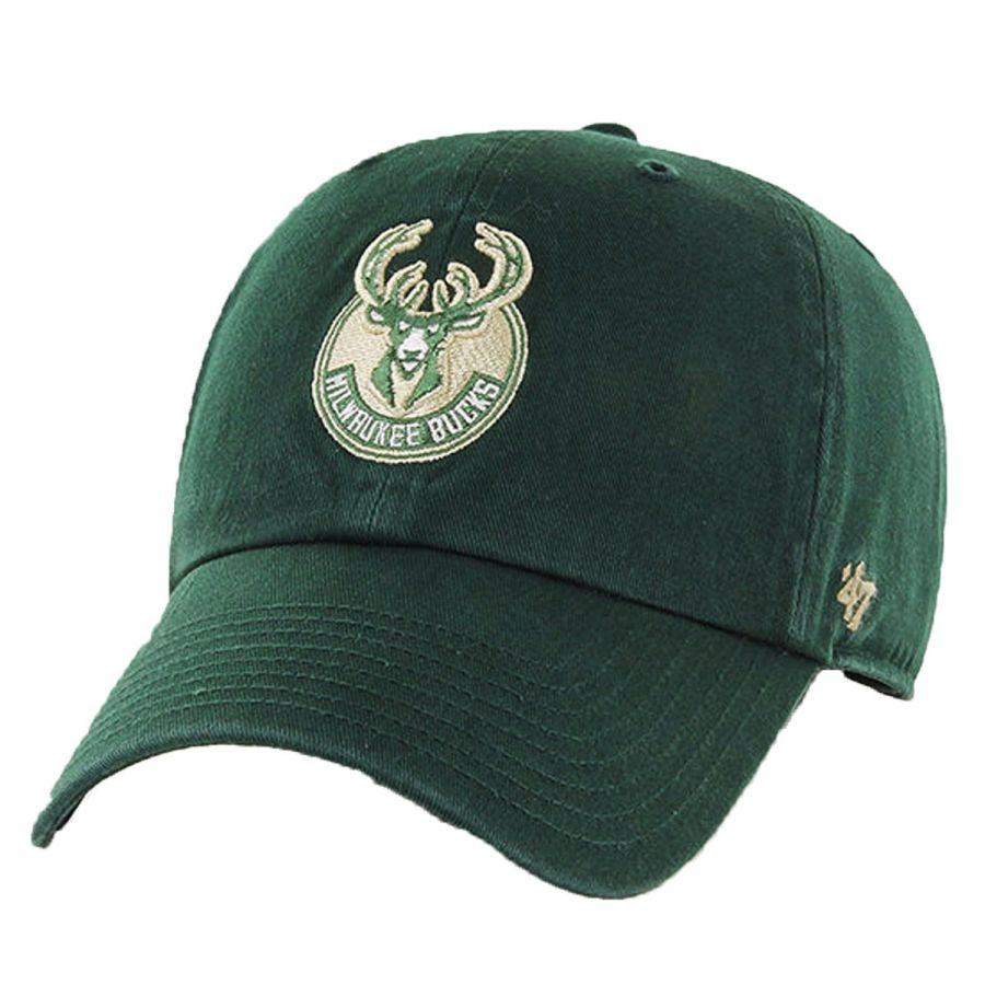 47 Brand Milwaukee Bucks NBA Clean Up Strapback Baseball Cap Dad Hat ... 6d181797bea