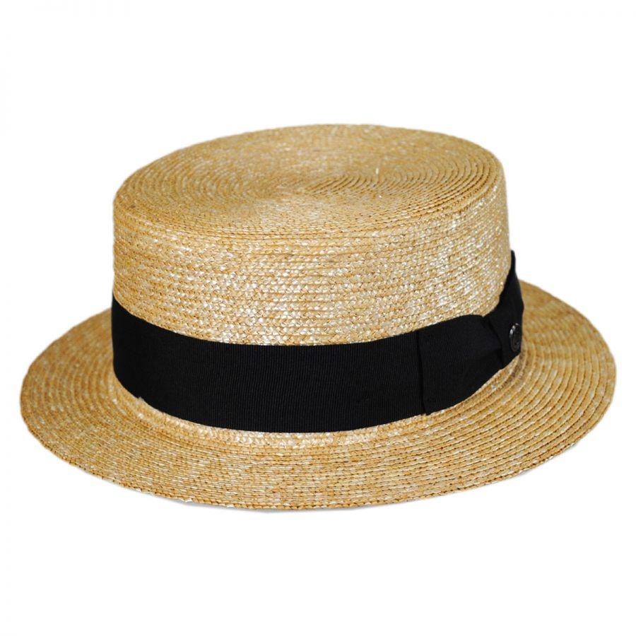 Jaxon Hats Black Band Wheat Straw Skimmer Hat Straw Hats 80fbd896bf0