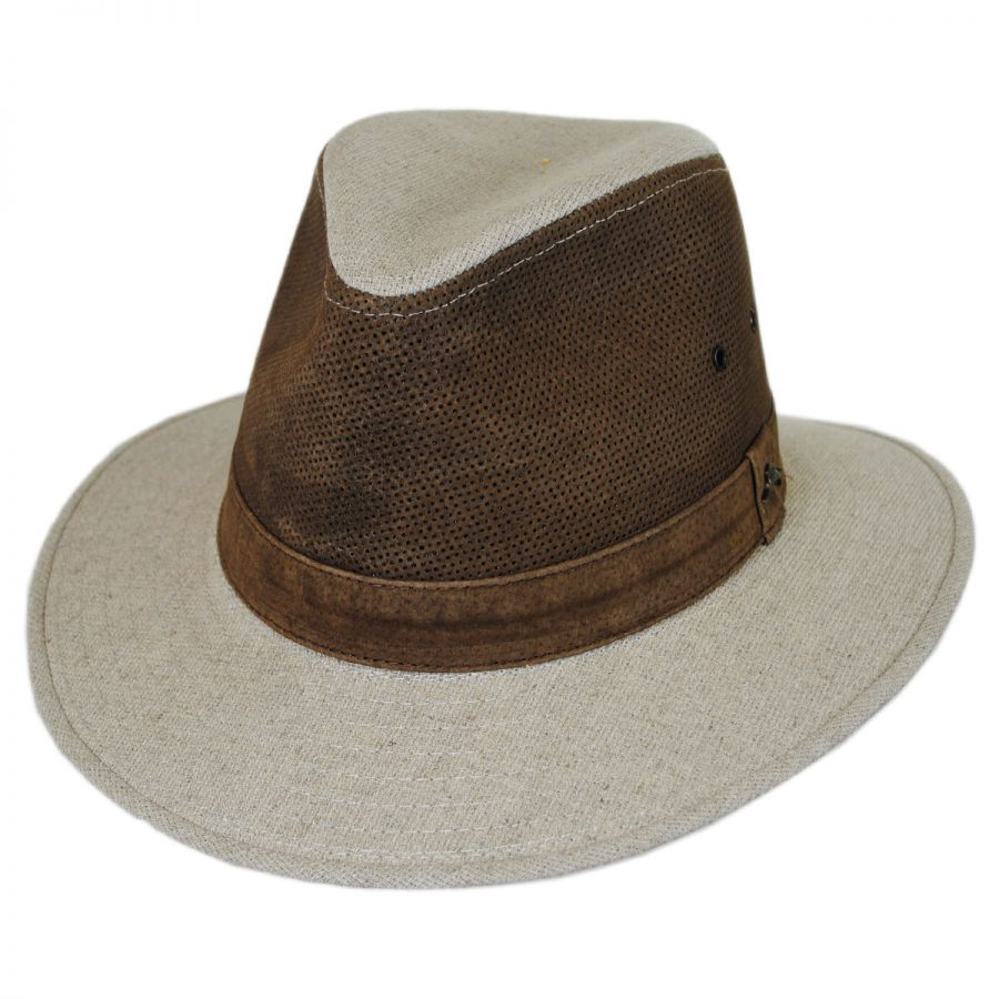 Tommy Bahama Linen and Leather Safari Fedora Hat Leather Fedoras e78c2425730
