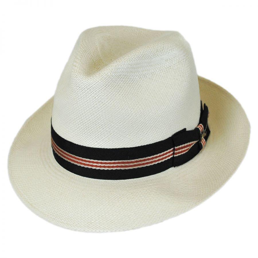 Tommy Bahama Striped Band Grade 8 Panama Straw Fedora Hat Panama Hats 15fe9e6bf44