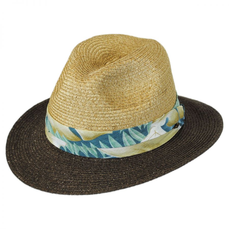 Tommy Bahama Tropical Band Toyo Straw Safari Fedora Hat Straw Fedoras 90ad62fb755