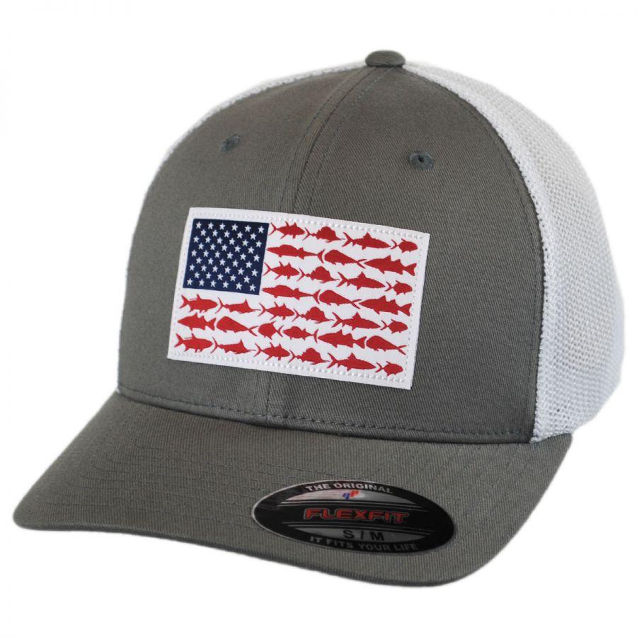 Columbia sportswear pfg fish flag mesh flexfit fitted for Fishing baseball caps