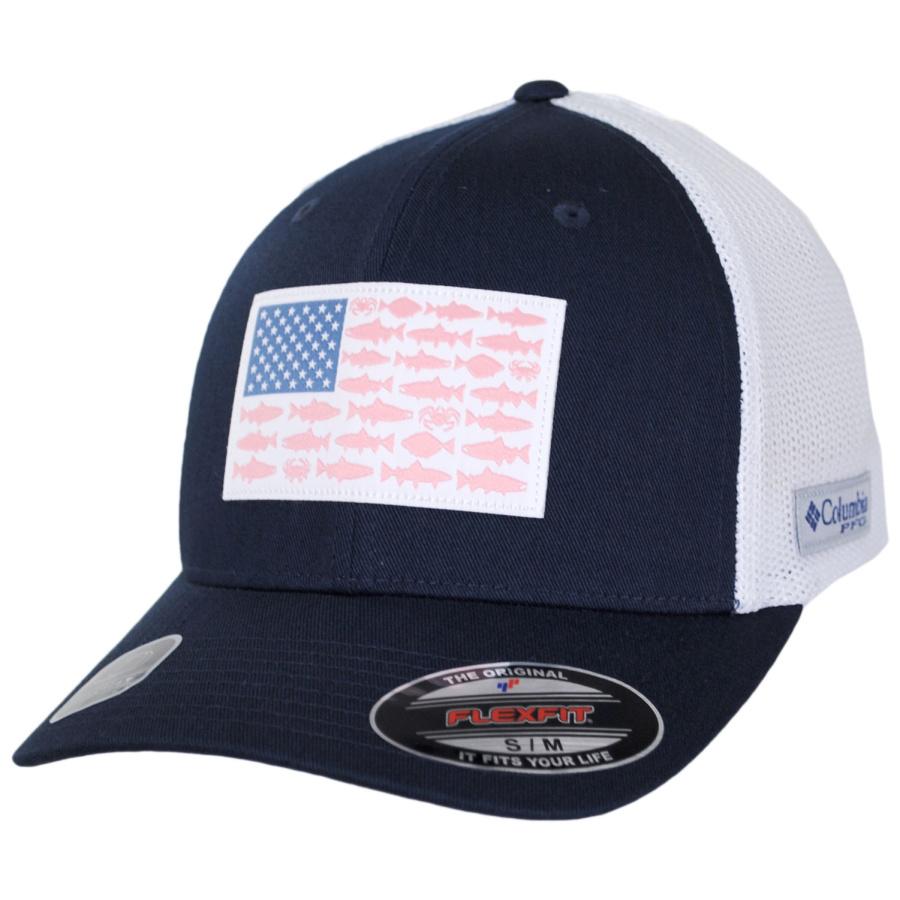 Columbia sportswear pfg fish flag mesh flexfit fitted for Columbia fish flag hat