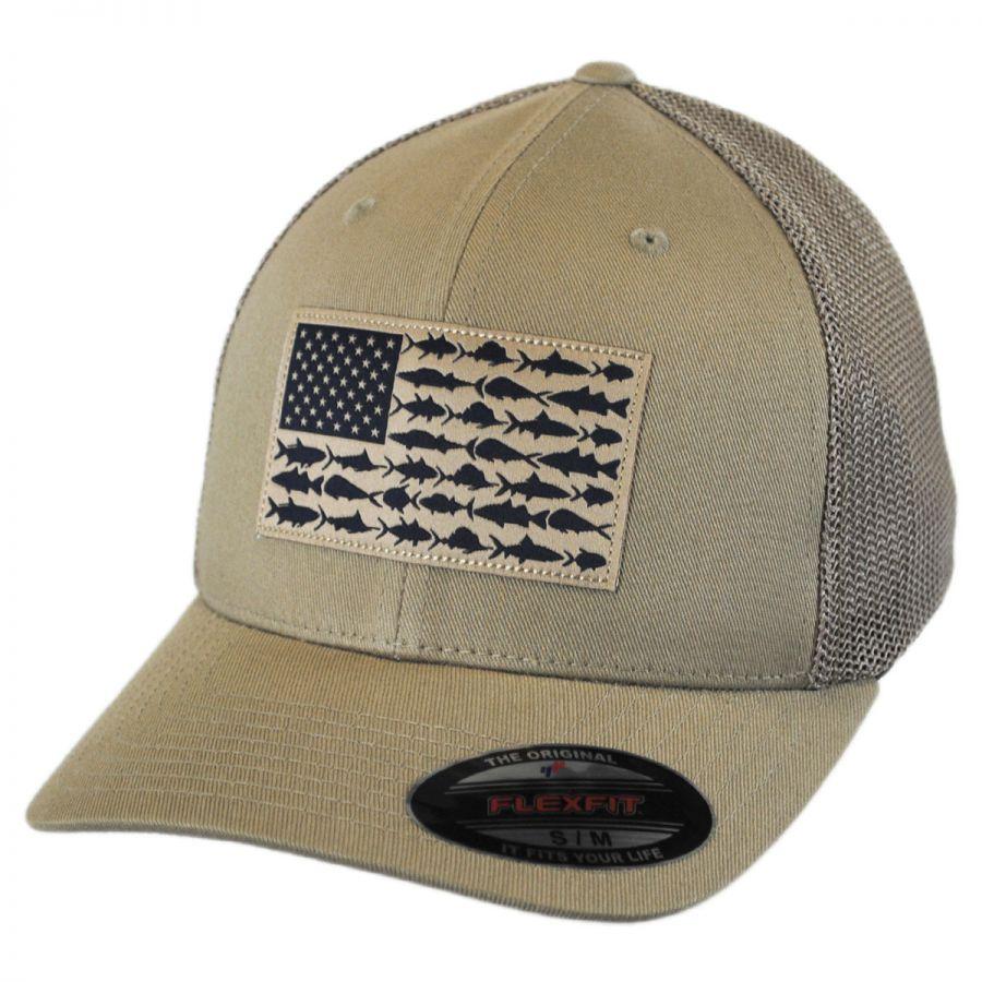 8df129f561c90 Columbia Sportswear PFG Fish Flag Mesh FlexFit Fitted Baseball Cap ...