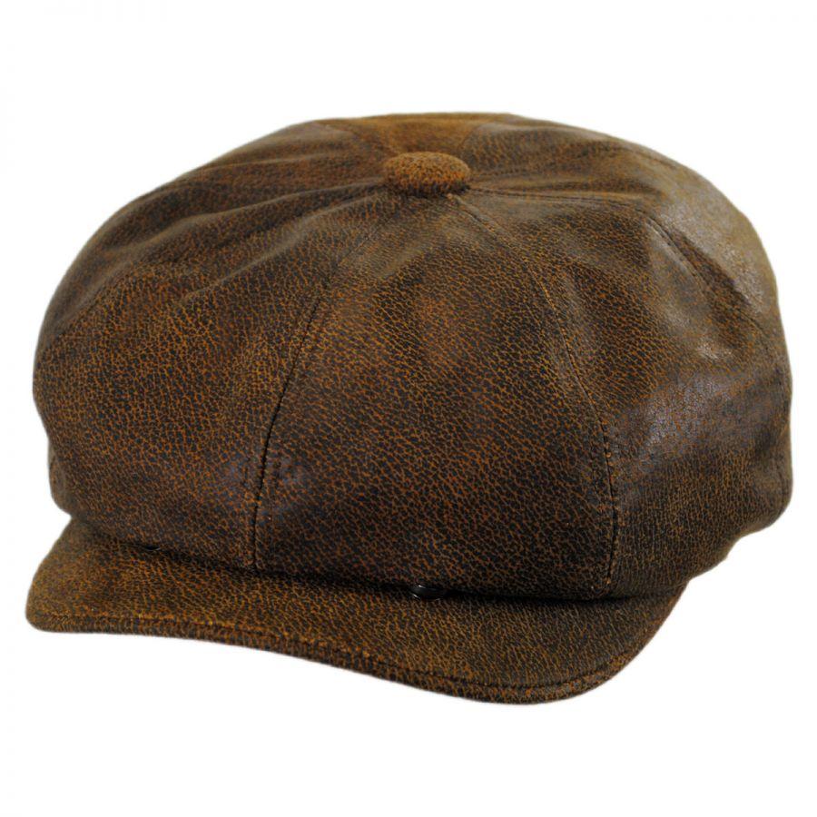 a18a4f86ee010e Jaxon Hats Leather Newsboy Cap Newsboy Caps