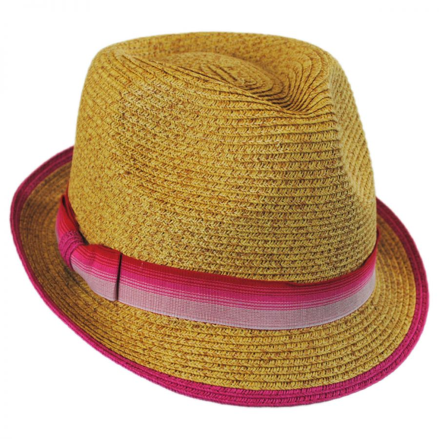 Striped Band Toyo Straw Trilby Fedora Hat alternate view 1 cea1d977821