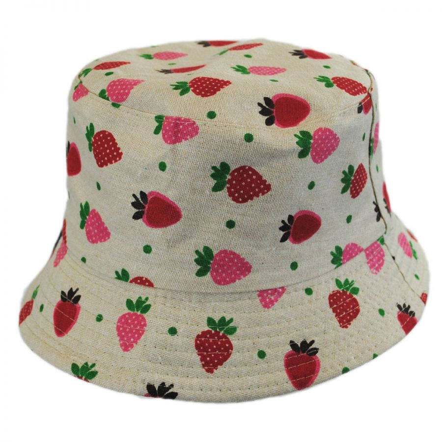 8a9cc3fb2 Kids' Strawberry Cotton Bucket Hat