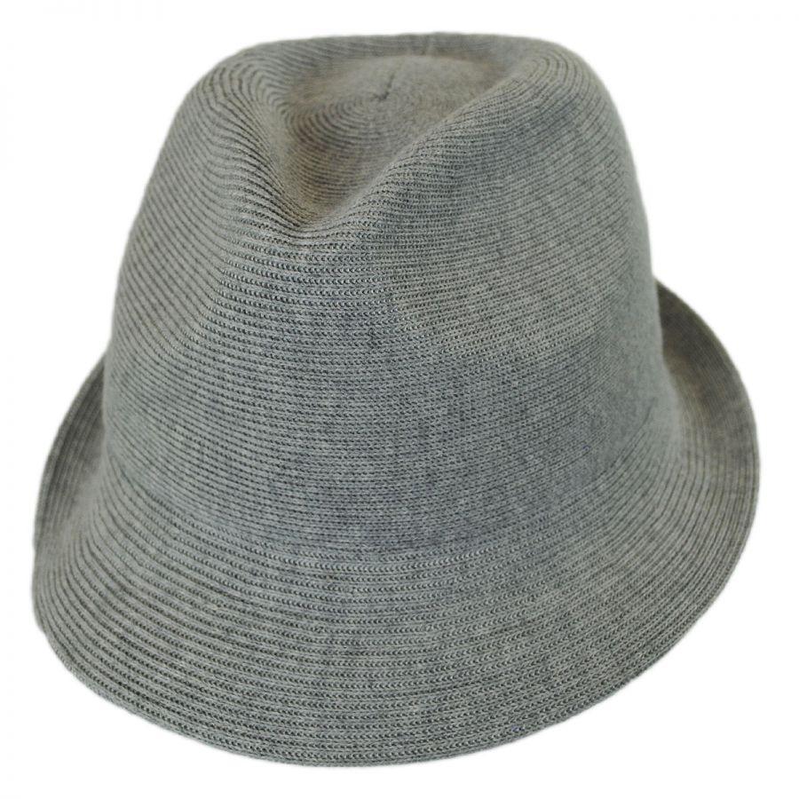 Kangol Rib Knit Cotton Blend Arnold Trilby Fedora Hat Stingy Brim ... 2f682960950