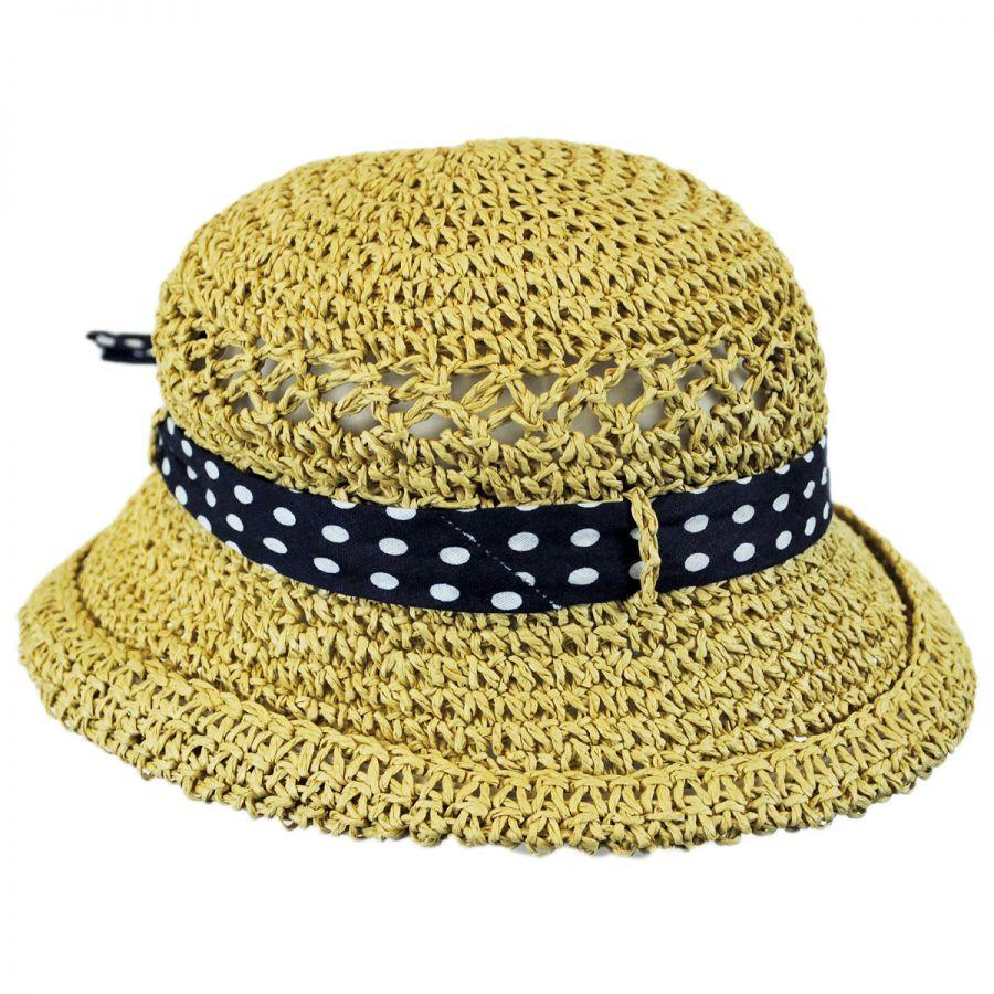 Jeanne Simmons Kids  Polka Dot Bow Toyo Straw Sun Hat Girls 7aba9740819