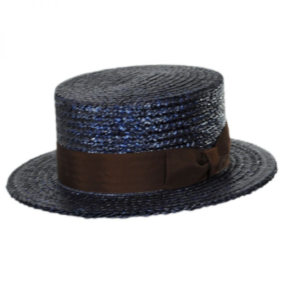 Stetson Sennett Italian Skimmer with Solid Hat Band - Navy Straw Hats 642337755ee