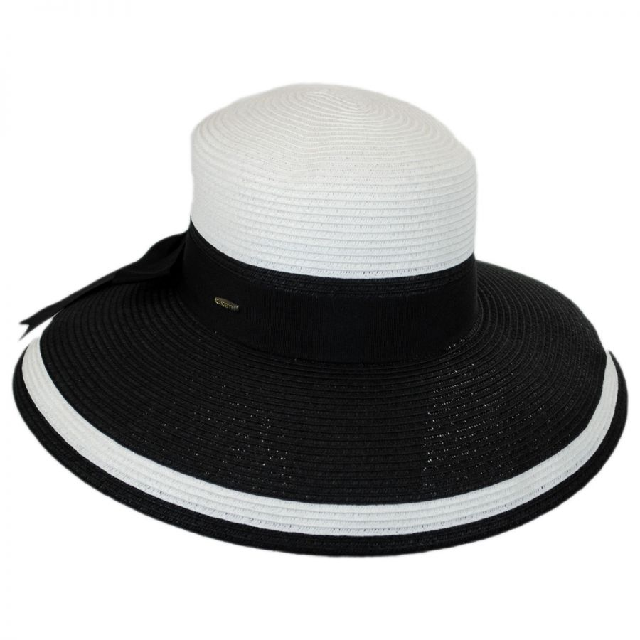 f961021f3c860 Karen Keith Color Block Toyo Straw Lampshade Hat Sun Protection