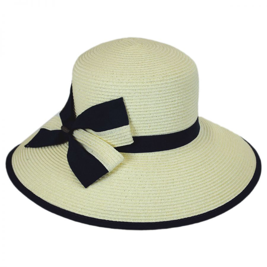 37930102248d6 Karen Keith Two-Tone Toyo Straw Lampshade Hat Sun Protection