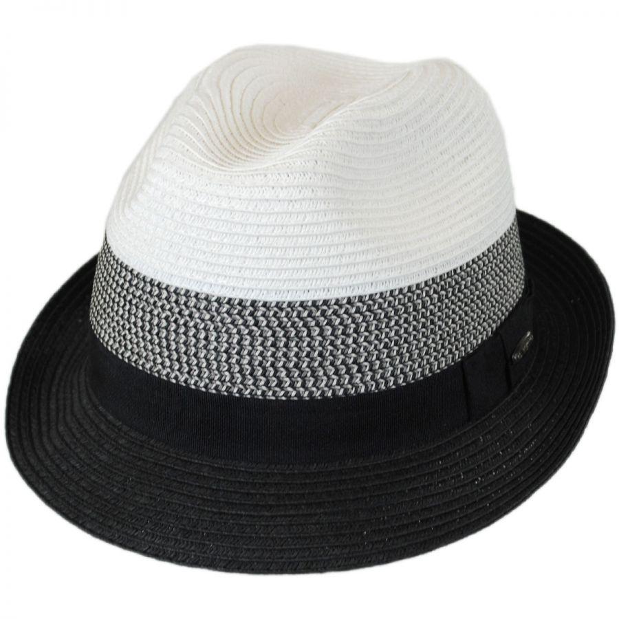 f13b910d7d7 Kenny K Color Block Toyo Straw Trilby Fedora Hat Straw Fedoras