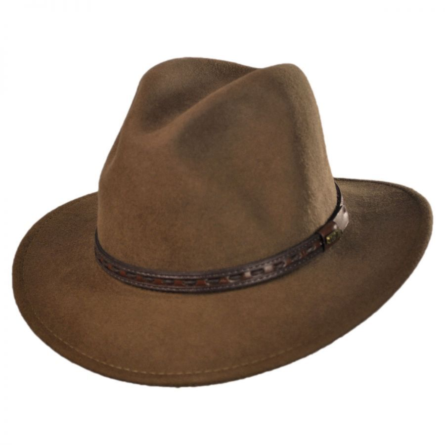 ef383bec Scala Traveler Wool Felt Safari Fedora Hat Crushable