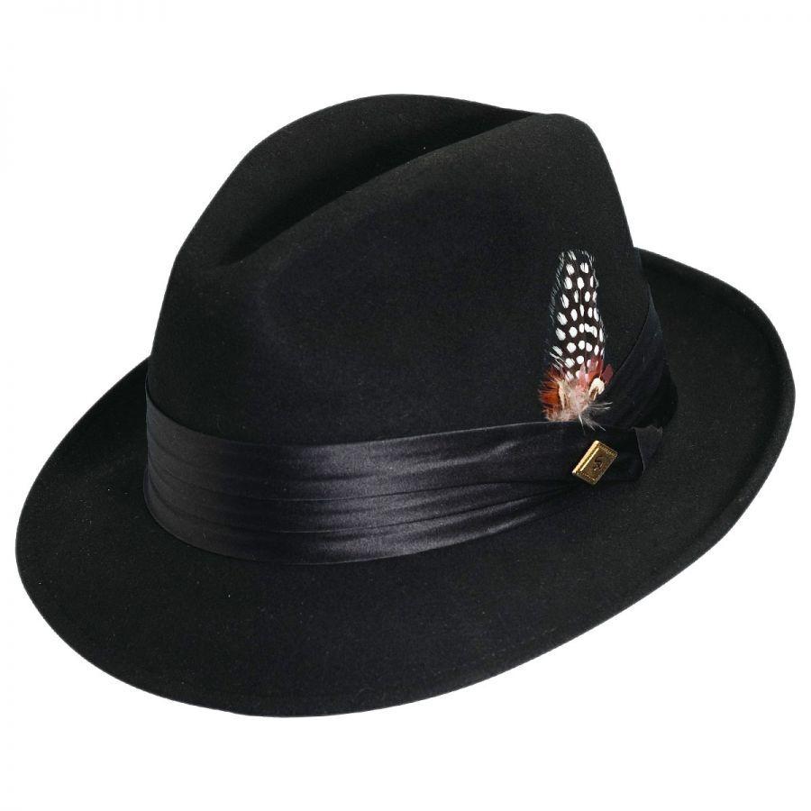 d91aa726fb5 Stacy Adams Crushable Wool Felt Fedora Hat Crushable