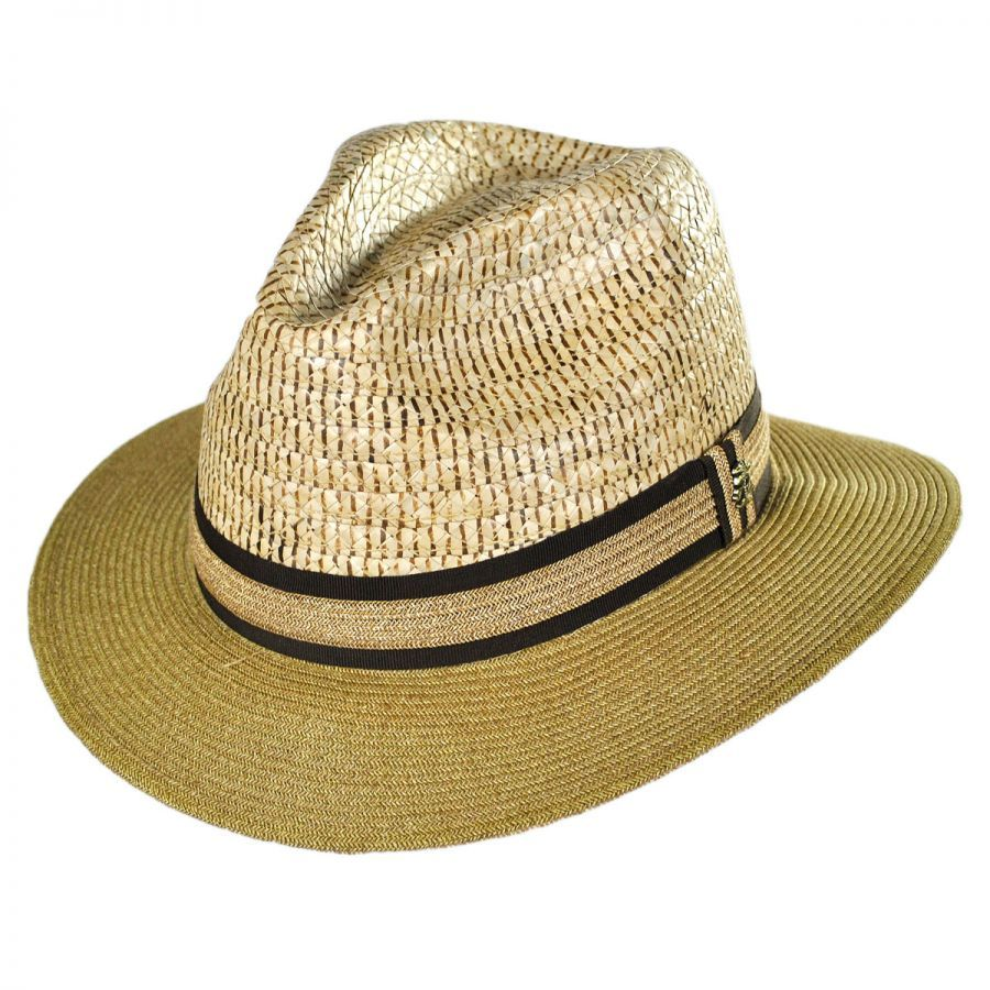Tommy Bahama Buri Braid Straw Safari Fedora Hat Straw Fedoras a499225fce5