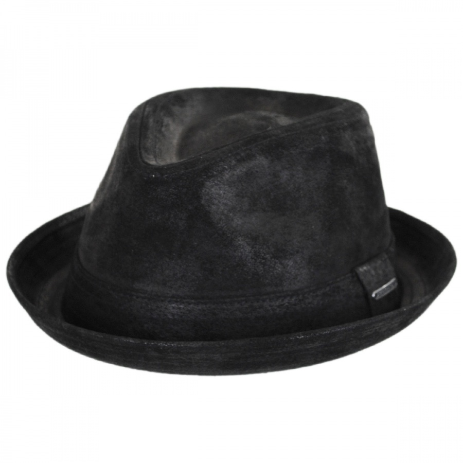 Stetson Leather Player Trilby Fedora Hat Leather Fedoras 17d0328285f