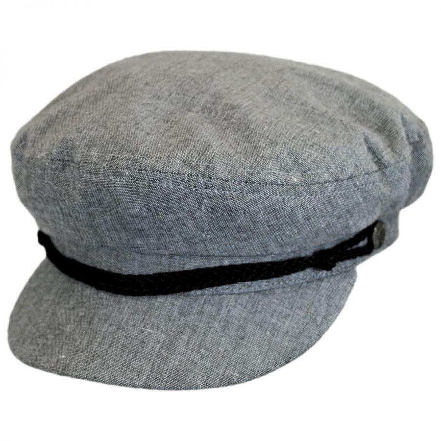 79a3ff5e0a3 Brixton Hats Chambray Linen and Cotton Fiddler Cap Greek Fisherman Caps