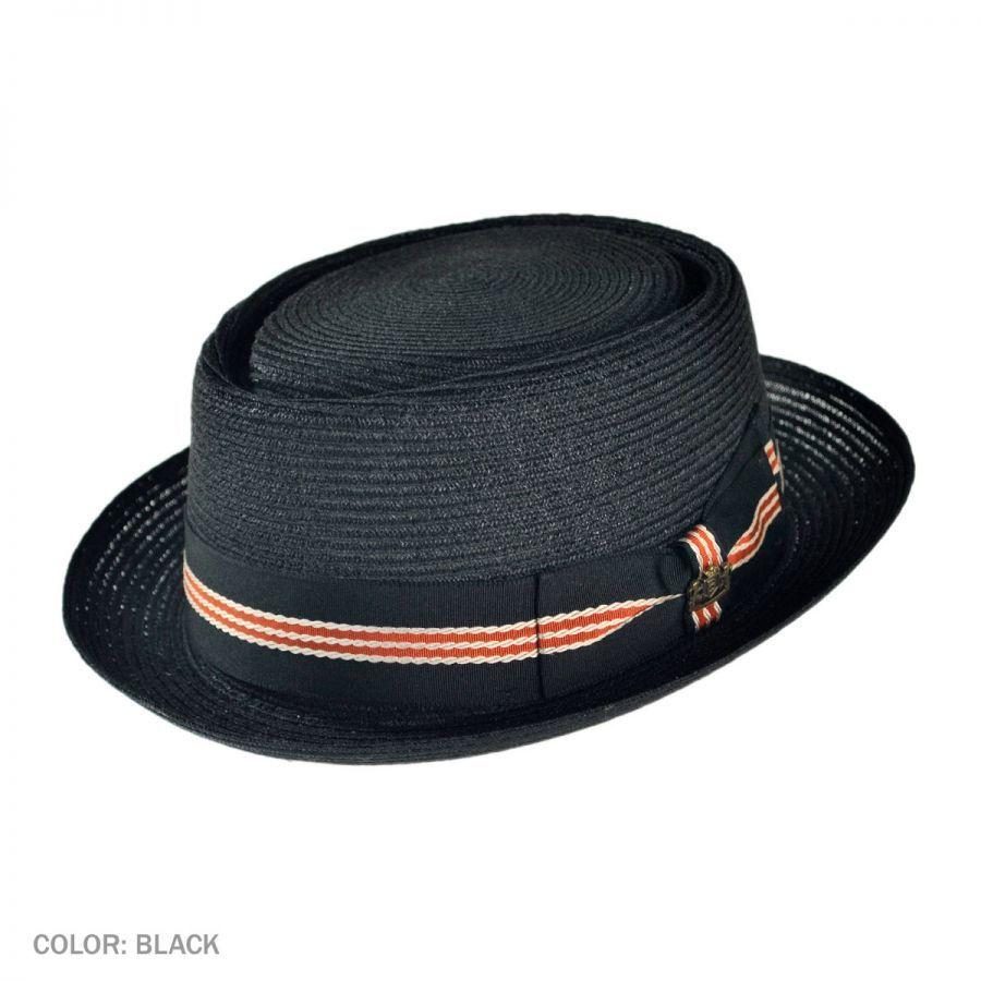 Biltmore Dijon Hemp Straw Pork Pie Hat - Black Pork Pie Hats 23f1a578d
