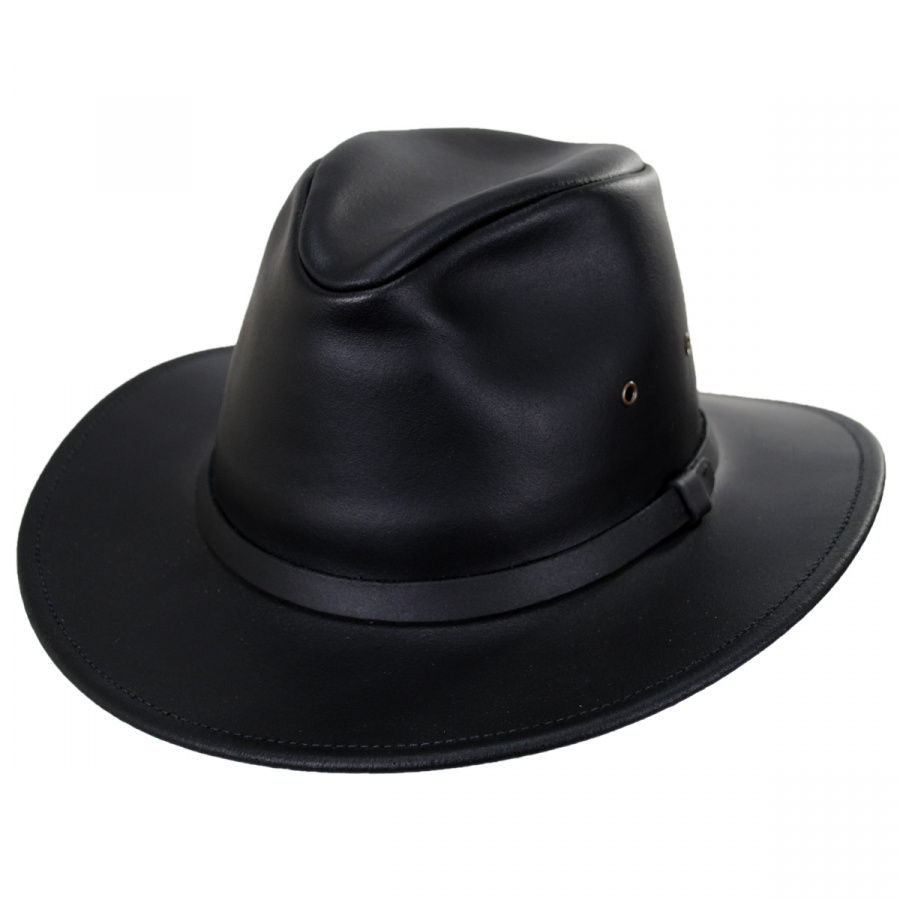 MEN/'S fedora safari bucket  hat cap 100/% genuine leather made in usa color black