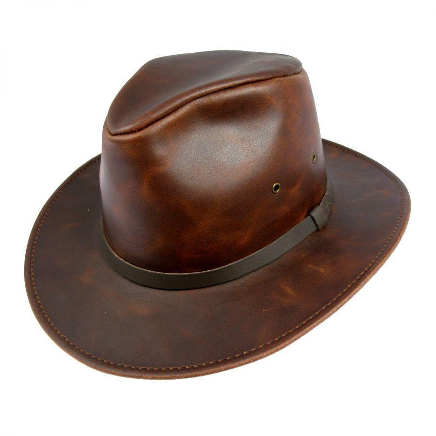 Henschel Leather Safari Fedora Hat Leather Fedoras e82eba1f678