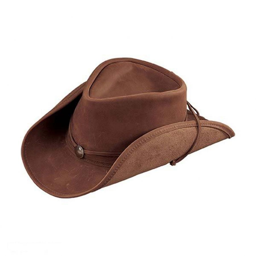 0875cf01 Walker Conche Band Leather Western Hat