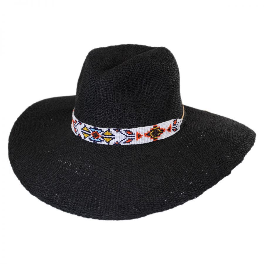 0302523a5a0 ale by Alessandra Bandolier Toyo Straw Wide Brim Fedora Hat Fedoras