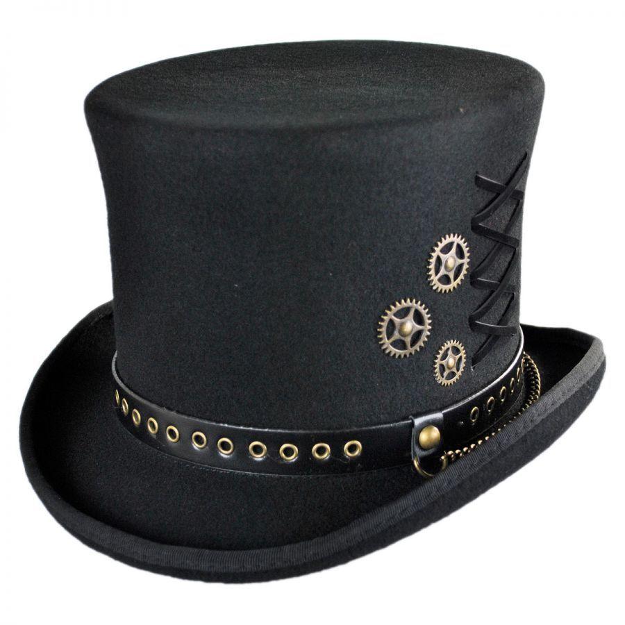 99f5321d5d8 Conner Steampunk Wool Felt Top Hat Top Hats