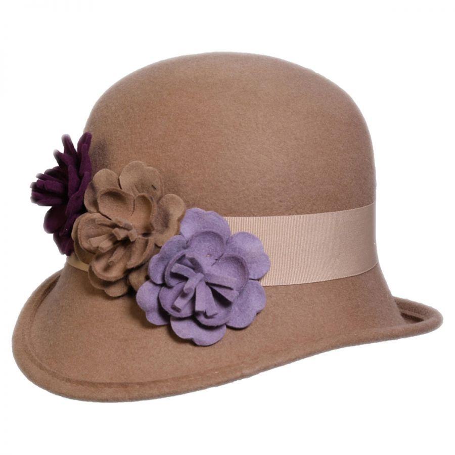 Conner Country Garden Wool Felt Cloche Hat Cloche & Flapper Hats
