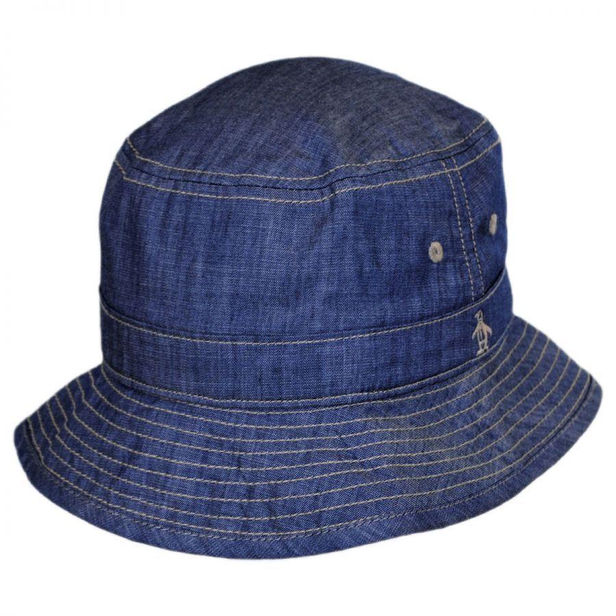 Penguin Chambray Cotton Bucket Hat Bucket Hats