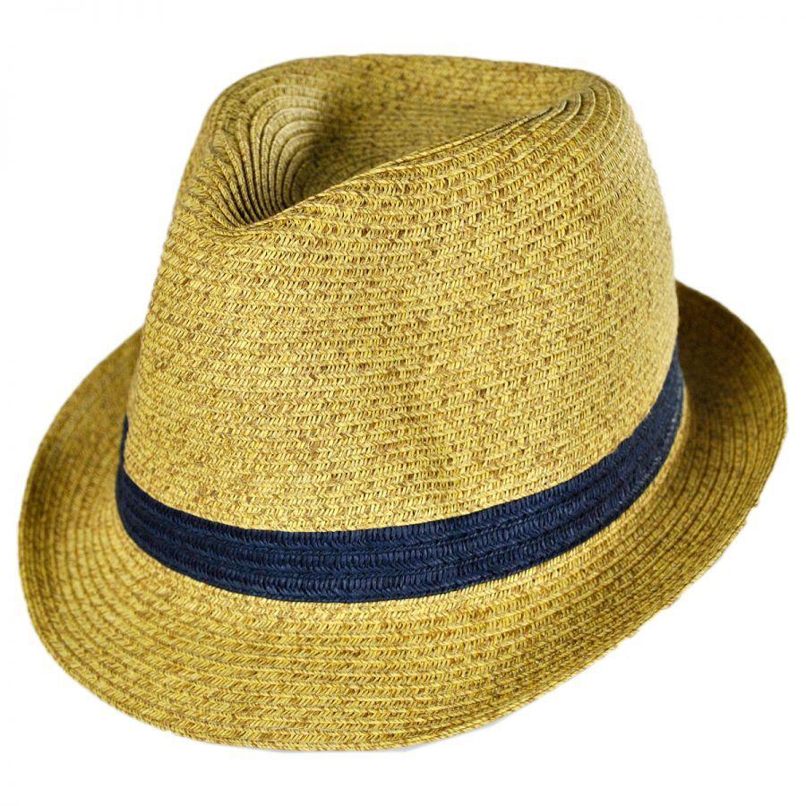 San Diego Hat Company Kids  Contrasting Band Toyo Straw Fedora Hat ... e3f0d56ea65