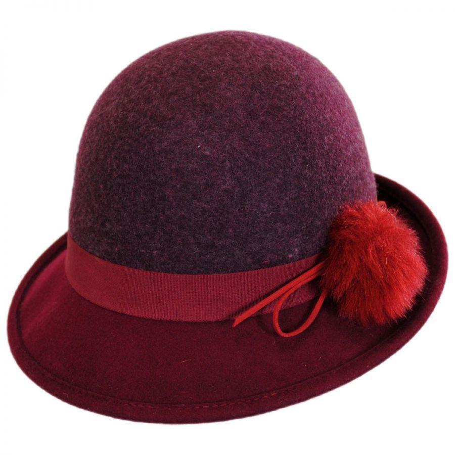 Hatch Hats Pom Wool Felt Cloche Hat Cloche & Flapper Hats