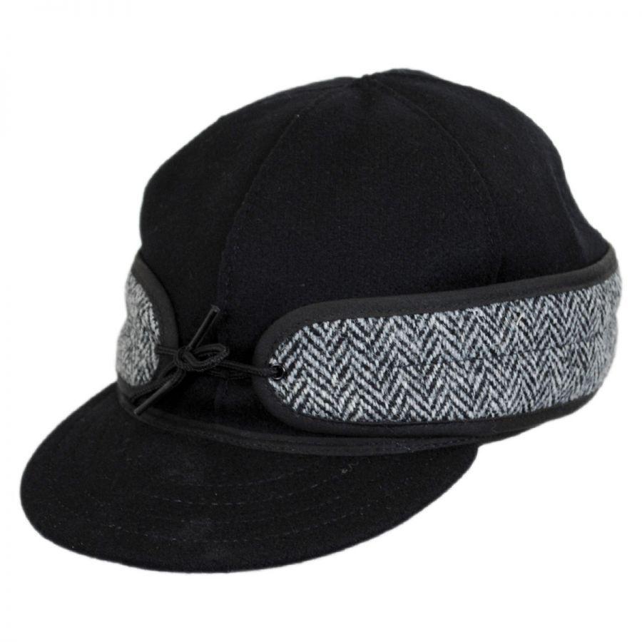 Stormy Kromer Black Harris Tweed Cap Cold Weather 631068ed63f