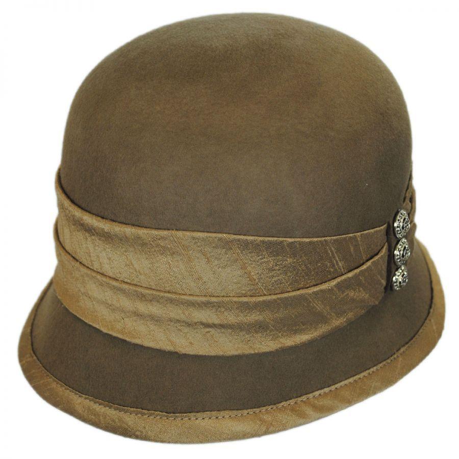 Toucan Collection Silk Trim Packable Wool Felt Cloche Hat Cloche ... 2801b9b765d