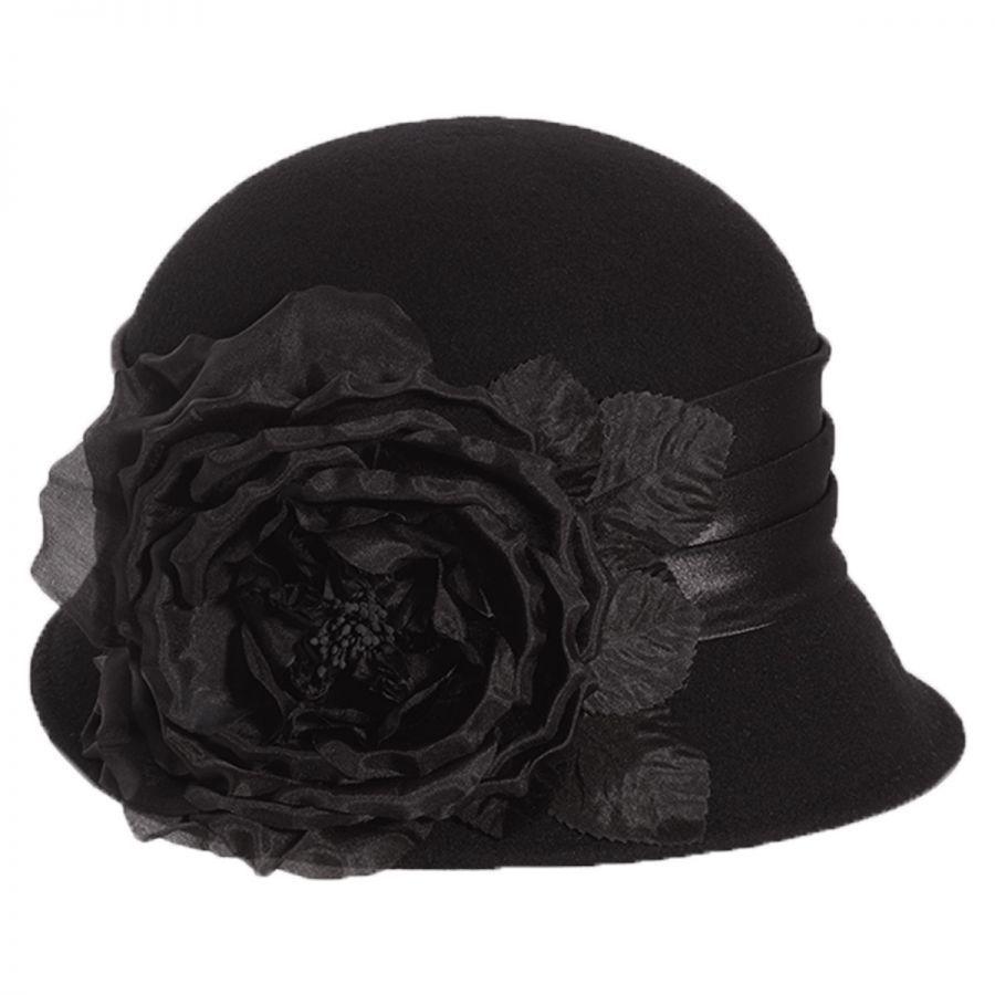 567696d434b3a Toucan Collection Side Rose Wool Felt Cloche Hat Cloche   Flapper Hats
