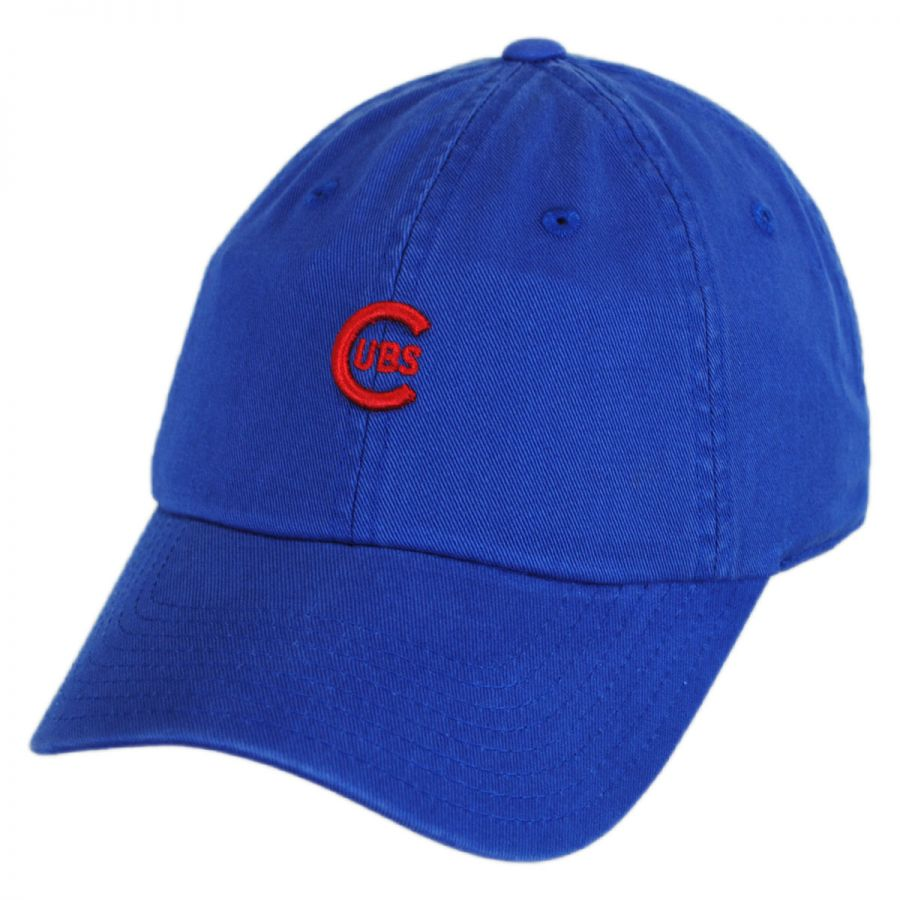 09fadaf67832d8 American Needle Chicago Cubs MLB Micro Logo Strapback Baseball Cap Dad Hat