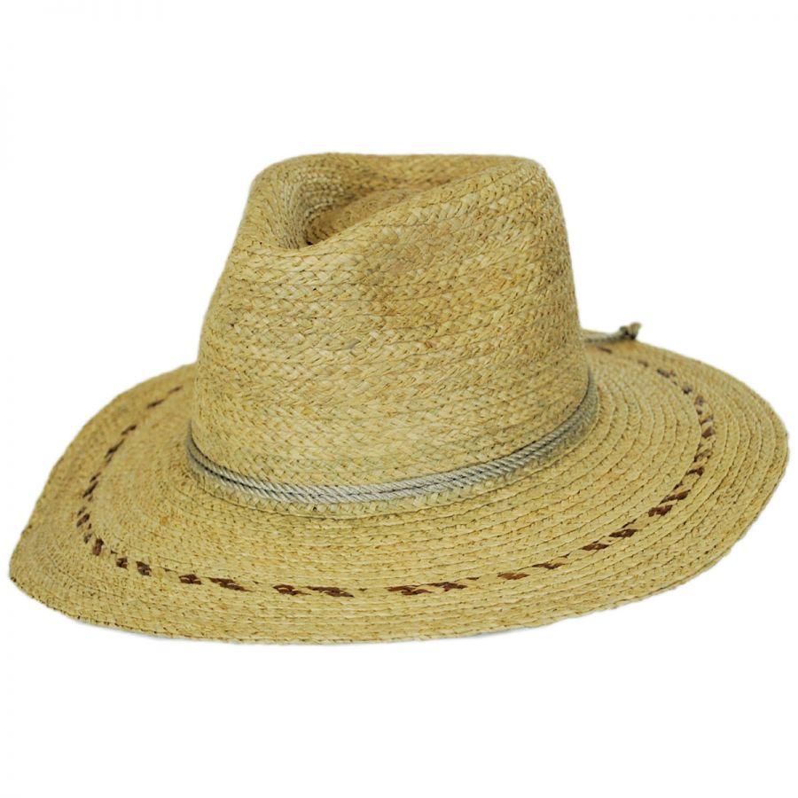 Brixton Hats Carnaby Raffia Straw Wide Brim Fedora Hat Straw Fedoras 0c3f754ef1c8