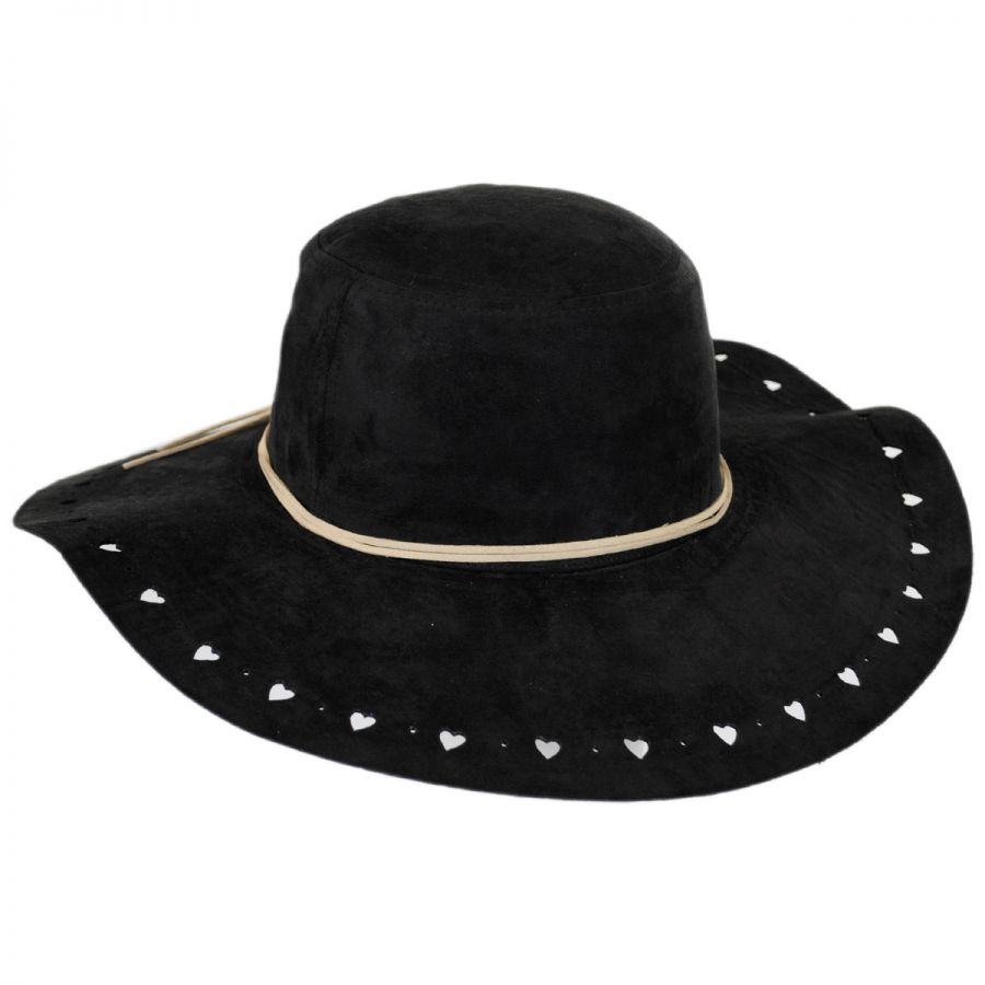 Scala Hearts Faux Suede Floppy Hat Casual Hats dfa553031f6