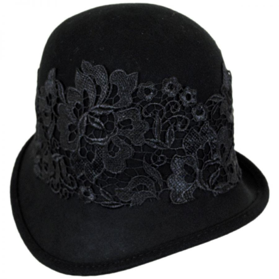 Callanan Hats Lace Band Wool Felt Cloche Hat Cloche ...