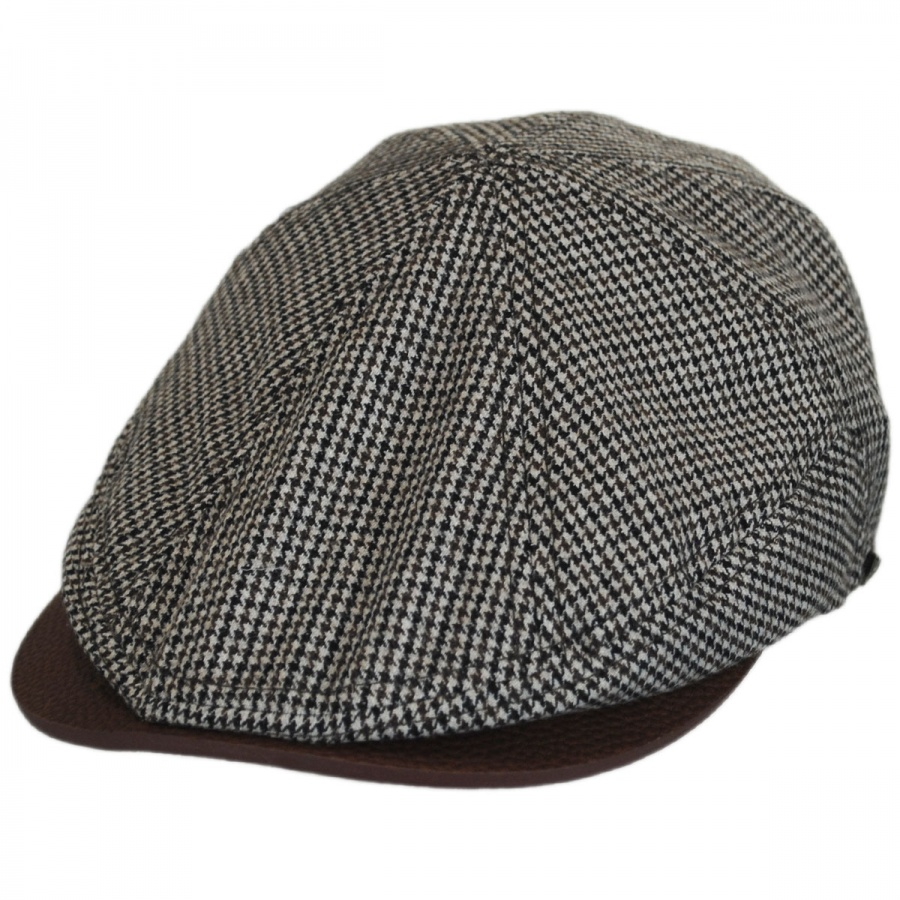 EK Collection by New Era Houndstooth Leather Bill Driver Cap Newsboy ... 54a6ea4b58e