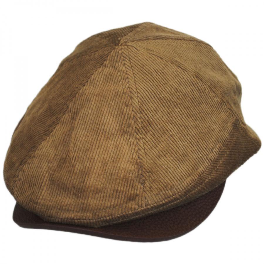 EK Collection by New Era Corduroy Leather Bill Driver Cap Newsboy Caps 8494125cf20
