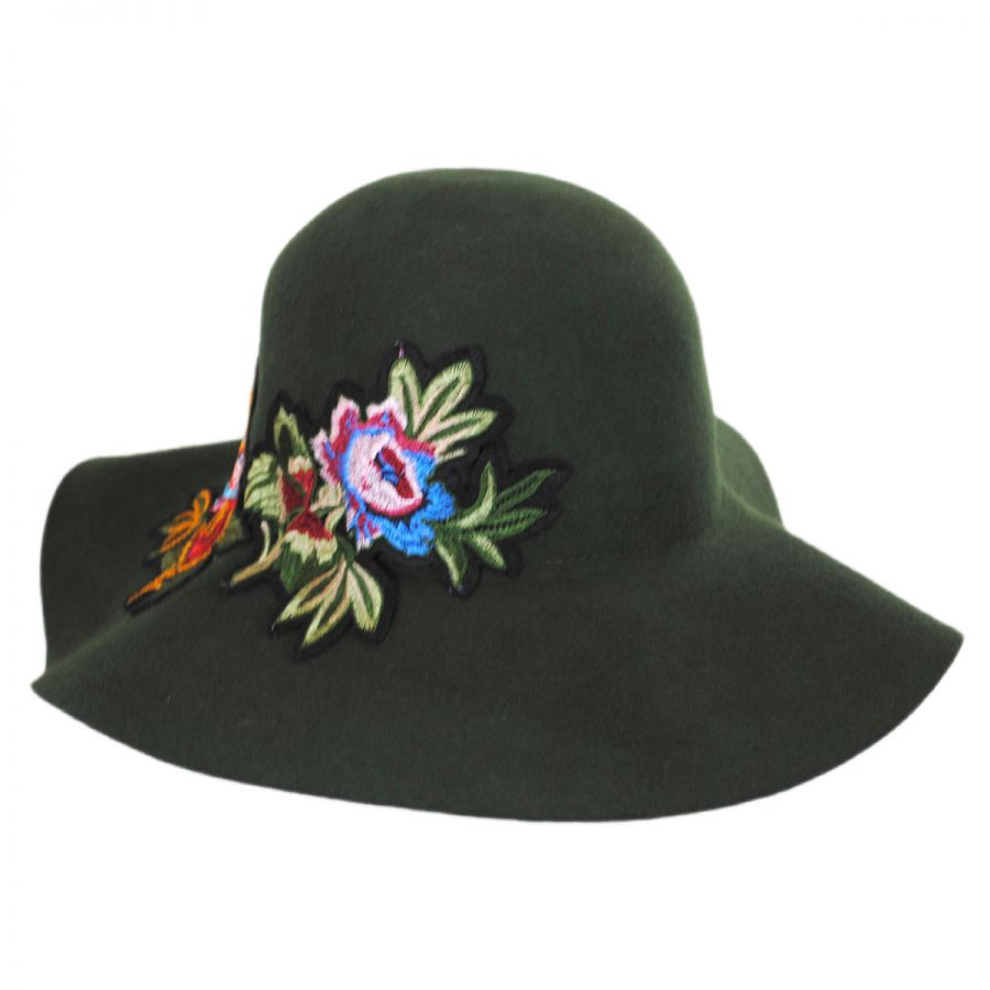 Floral Applique Wool Felt Floppy Hat - Olive