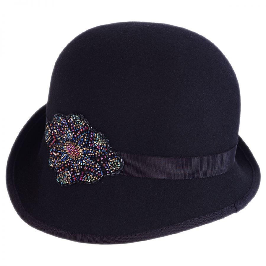 Toucan Collection Bead Flapper Wool Felt Cloche Hat Cloche ...