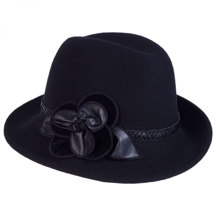Toucan Collection Rose Profile Wool Felt Fedora Hat Fedoras 7f862634373