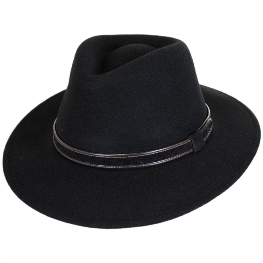 644bfc86943 Stefeno Hiker Wool Felt Safari Fedora Hat Crushable