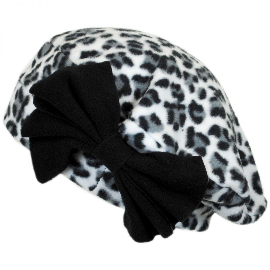 985474a0ba9 Jeanne Simmons Cheetah Bow Fleece Beret Berets